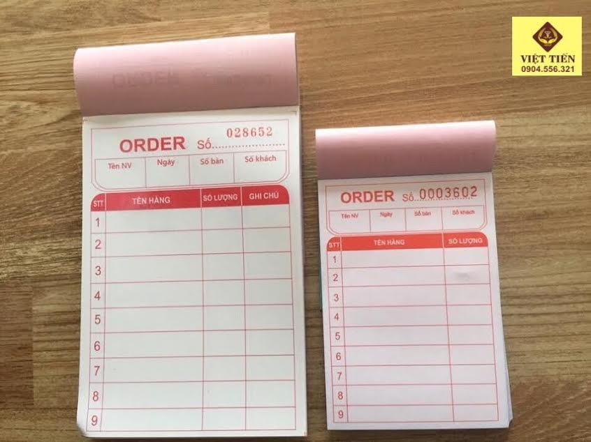 Quyển order in sẵn 2 liên 3 liên - kích thước A7, A6.5