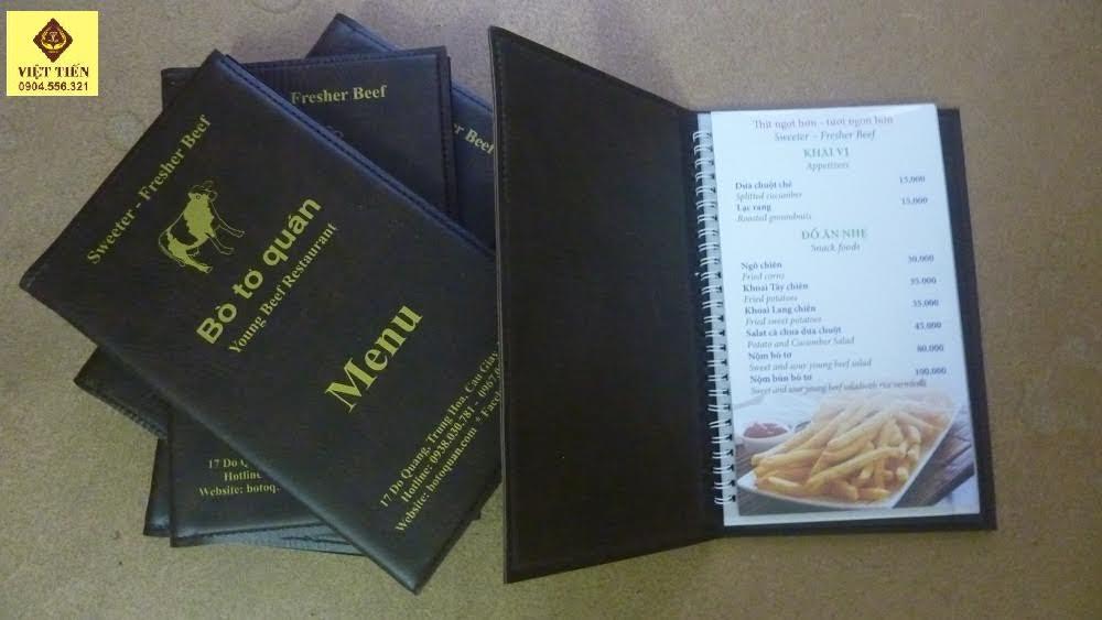 In quyển menu thực đơn món ăn cho nhà hàng đẹp giá rẻ tại Hà Nội