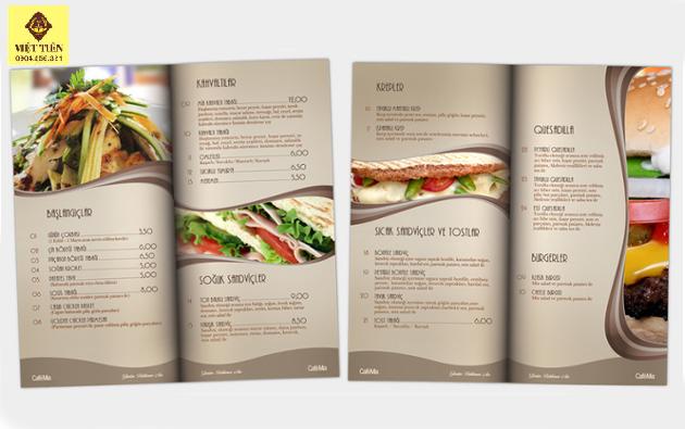 In menu thực đơn món ăn cho nhà hàng đẹp giá rẻ tại Hà Nội