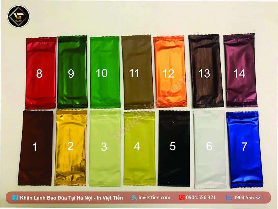 Màu mẫu cơ bản của khăn lạnh trước khi in thương hiệu nhà hàng